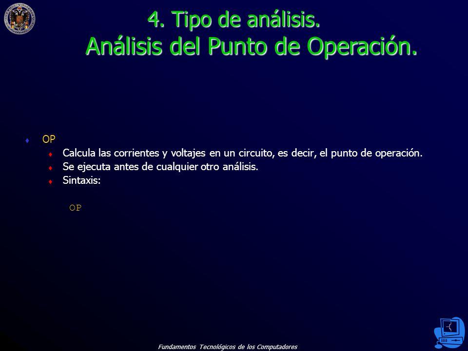 4. Tipo de análisis. Análisis del Punto de Operación.
