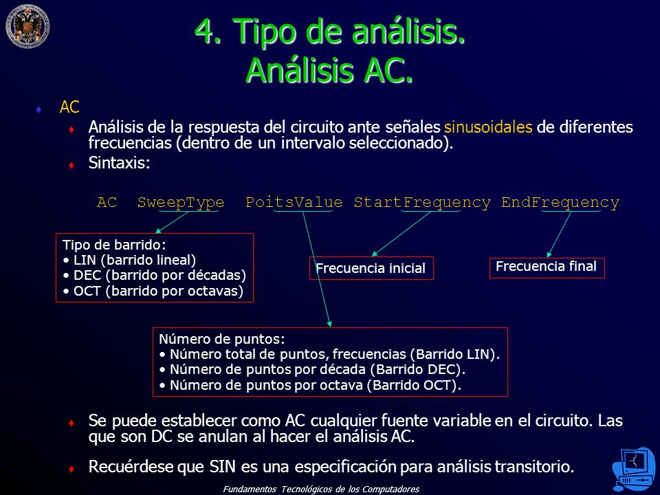 4. Tipo de análisis. Análisis AC.