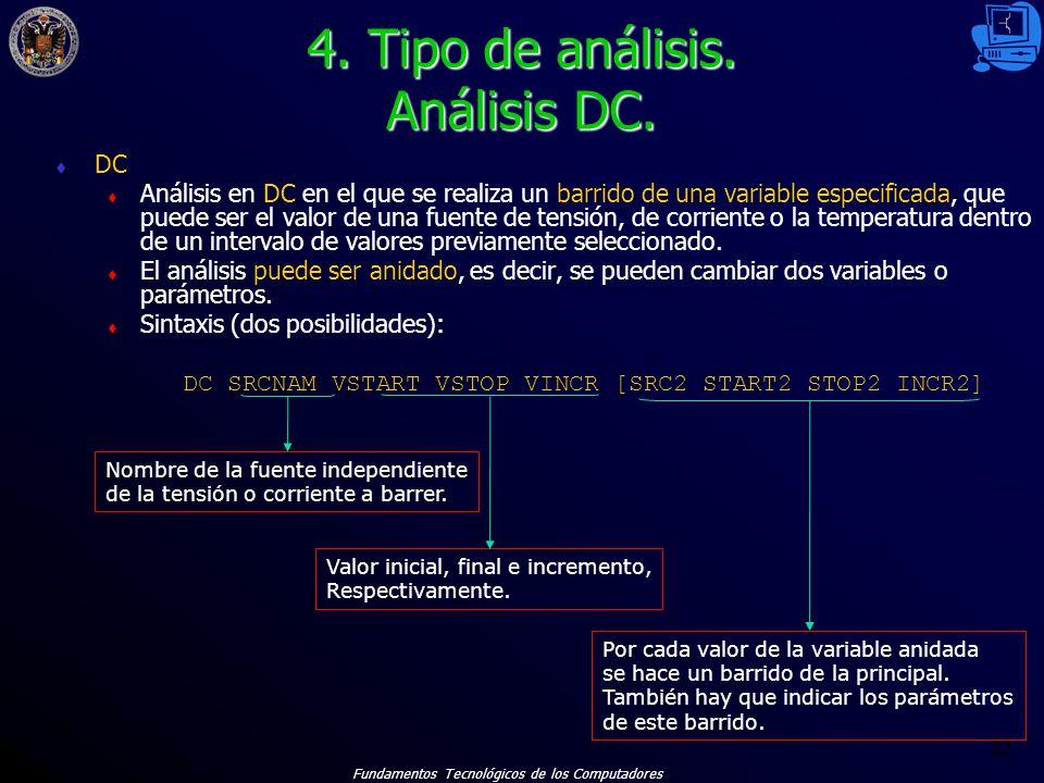 4. Tipo de análisis. Análisis DC.