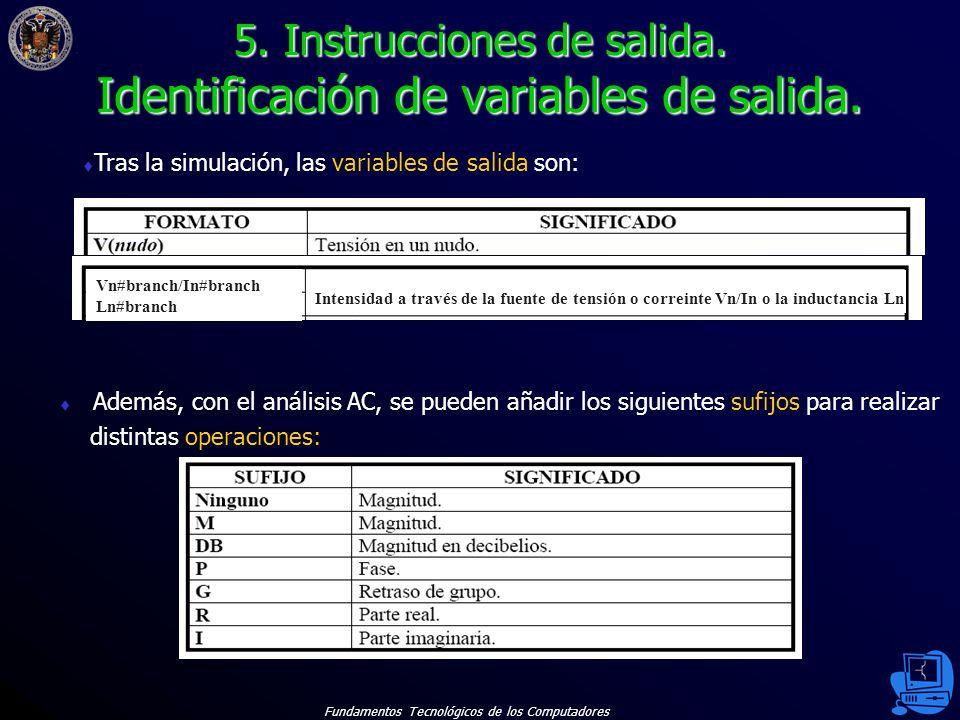 5. Instrucciones de salida. Identificación de variables de salida.