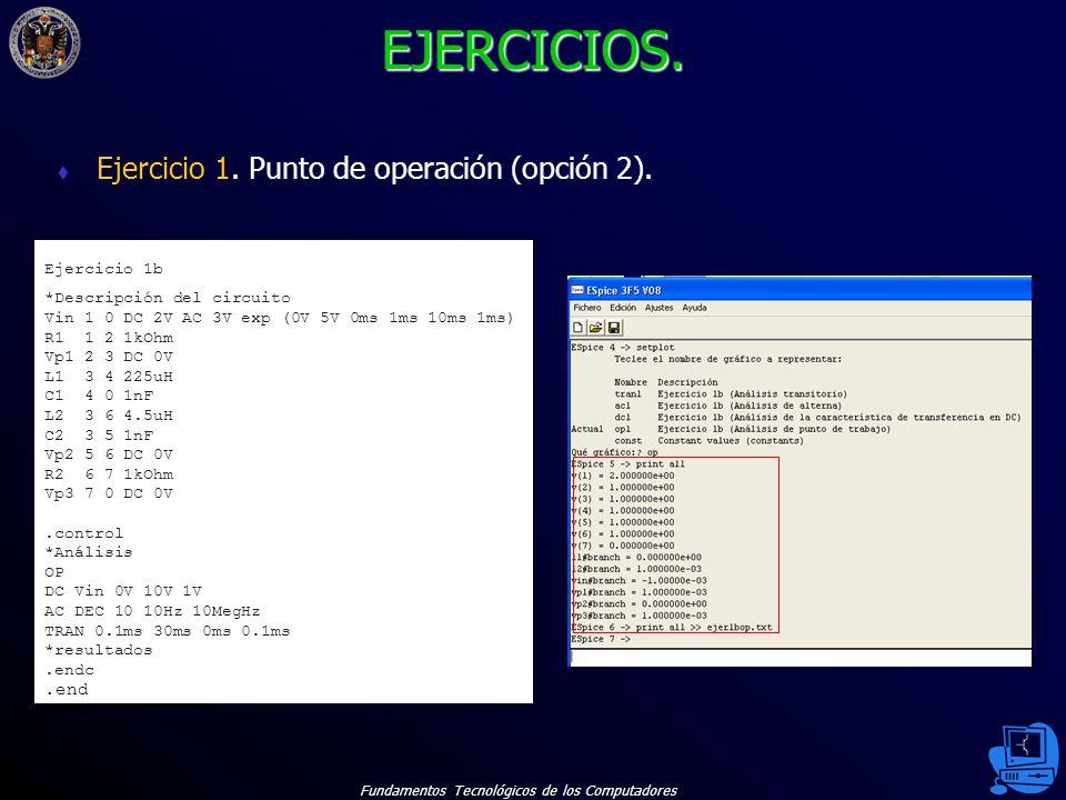EJERCICIOS. Ejercicio 1. Punto de operación (opción 2). .end