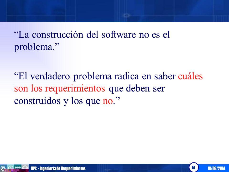 La construcción del software no es el problema.