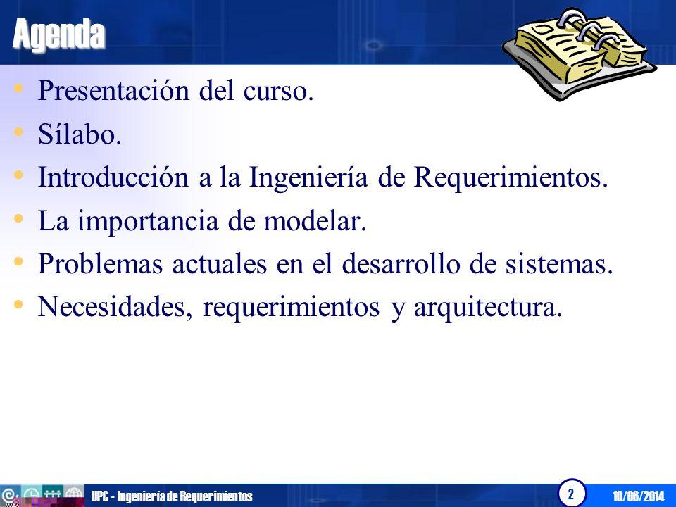 Agenda Presentación del curso. Sílabo.