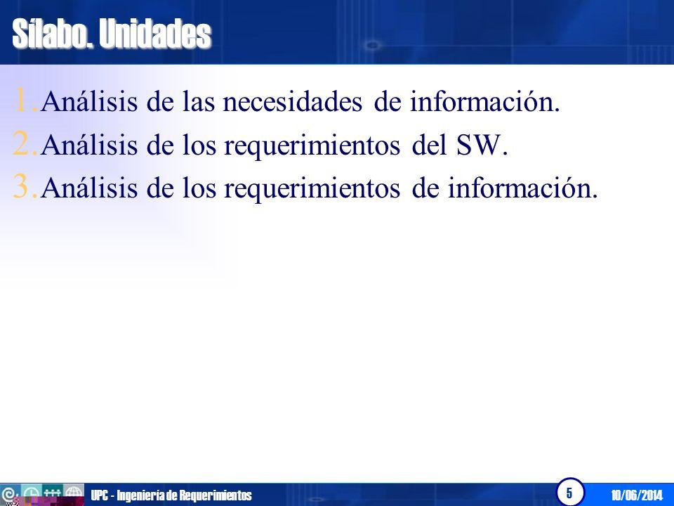 Sílabo. Unidades Análisis de las necesidades de información.