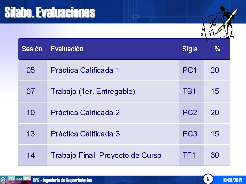 Sílabo. Evaluaciones UPC - Ingeniería de Requerimientos 01/04/2017