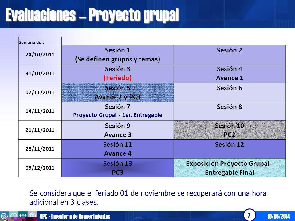 Evaluaciones – Proyecto grupal
