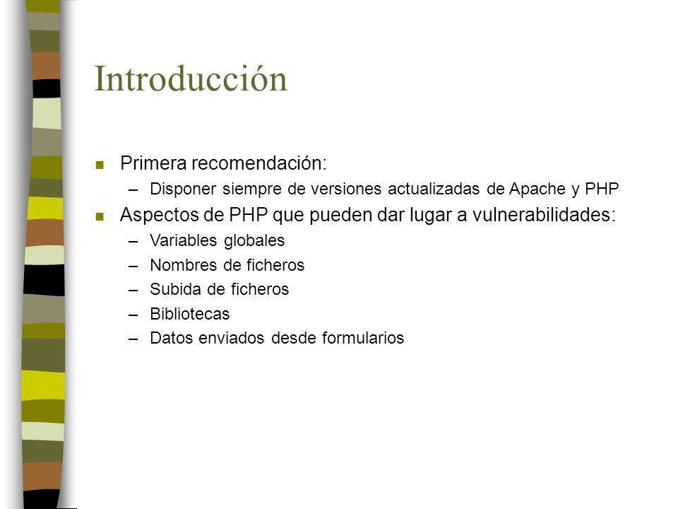 Introducción Primera recomendación: