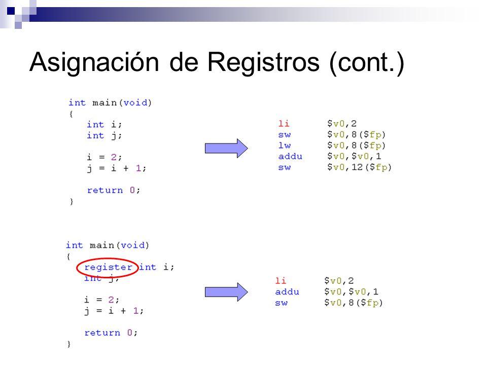 Asignación de Registros (cont.)
