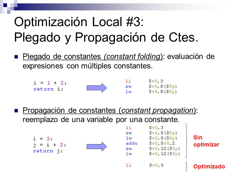 Optimización Local #3: Plegado y Propagación de Ctes.