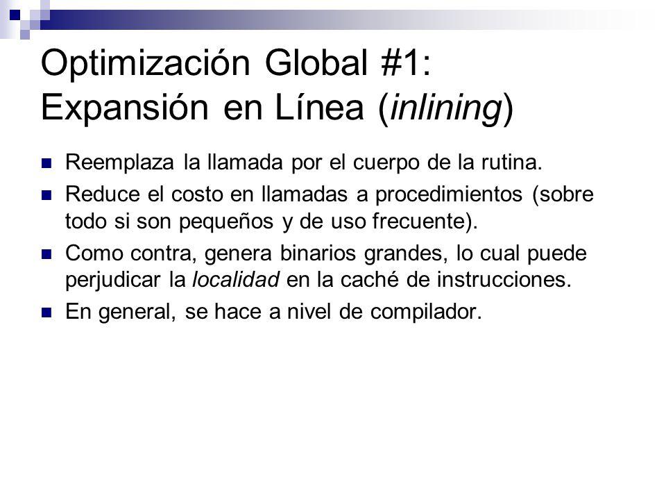 Optimización Global #1: Expansión en Línea (inlining)