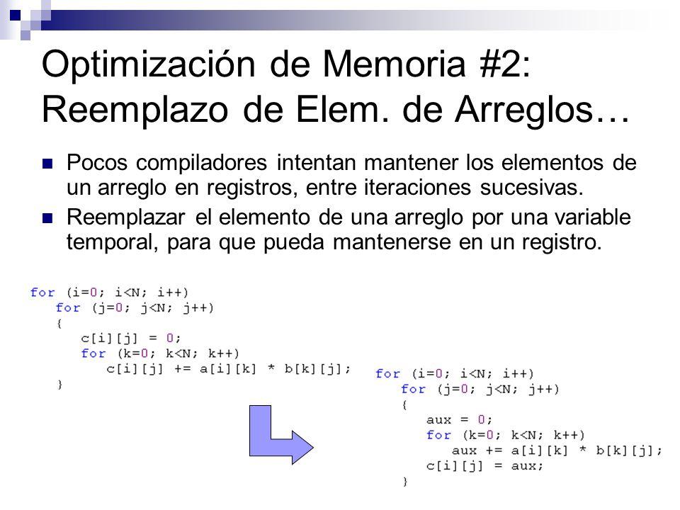 Optimización de Memoria #2: Reemplazo de Elem. de Arreglos…