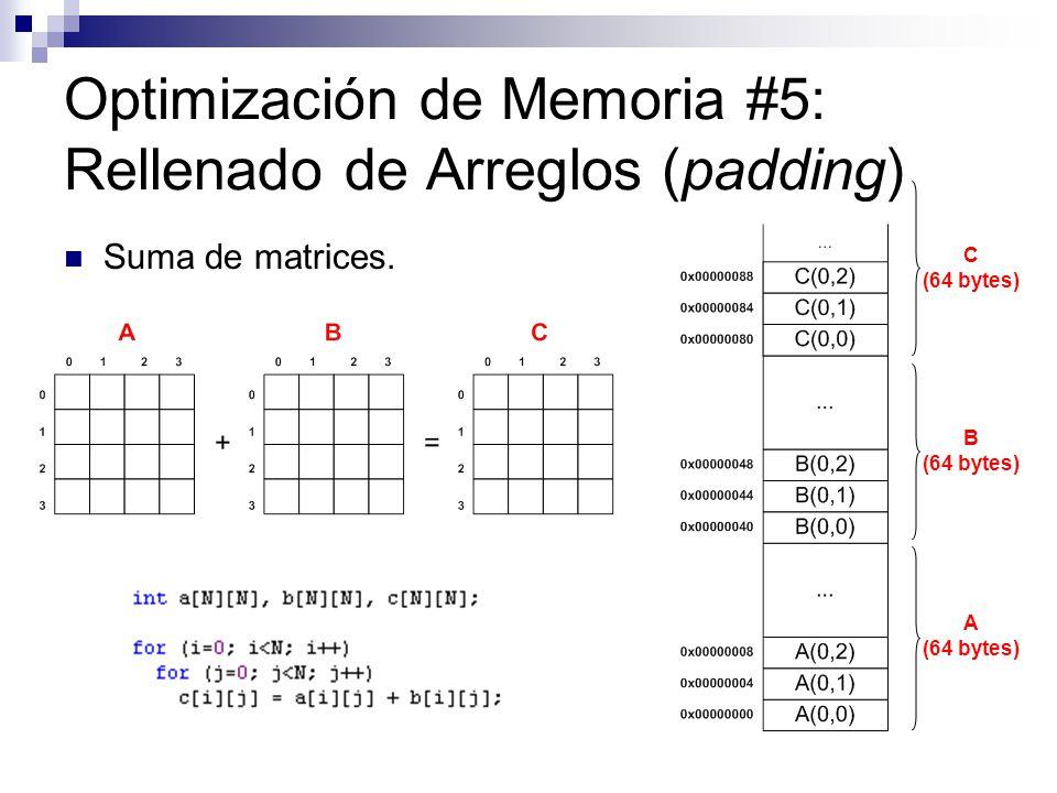 Optimización de Memoria #5: Rellenado de Arreglos (padding)