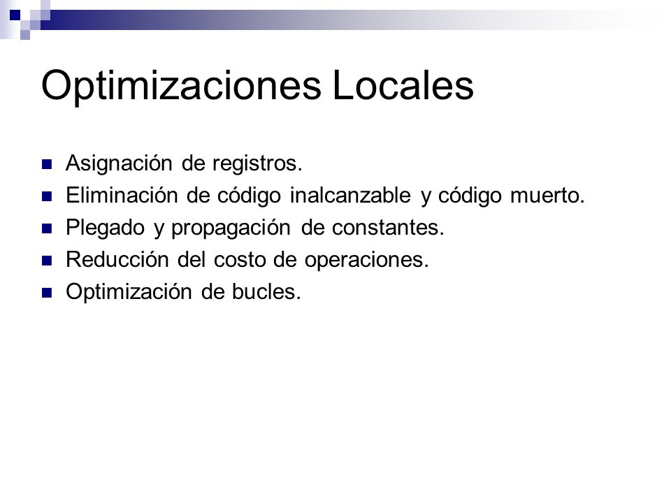 Optimizaciones Locales