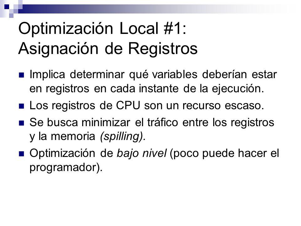 Optimización Local #1: Asignación de Registros