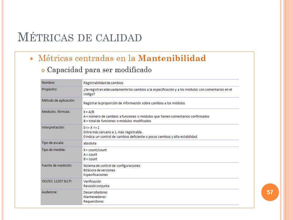 Métricas de calidad Métricas centradas en la Mantenibilidad