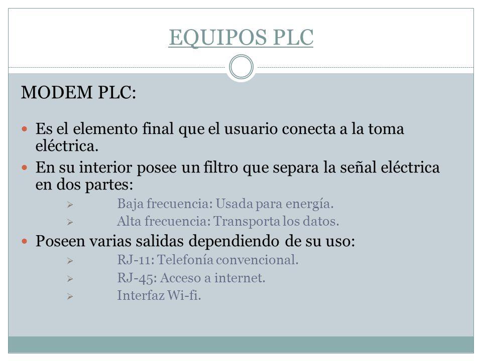 EQUIPOS PLC MODEM PLC: Es el elemento final que el usuario conecta a la toma eléctrica.