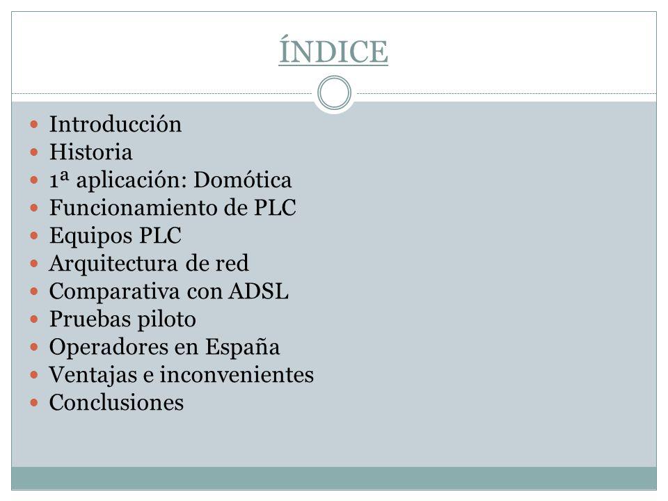 ÍNDICE Introducción Historia 1ª aplicación: Domótica