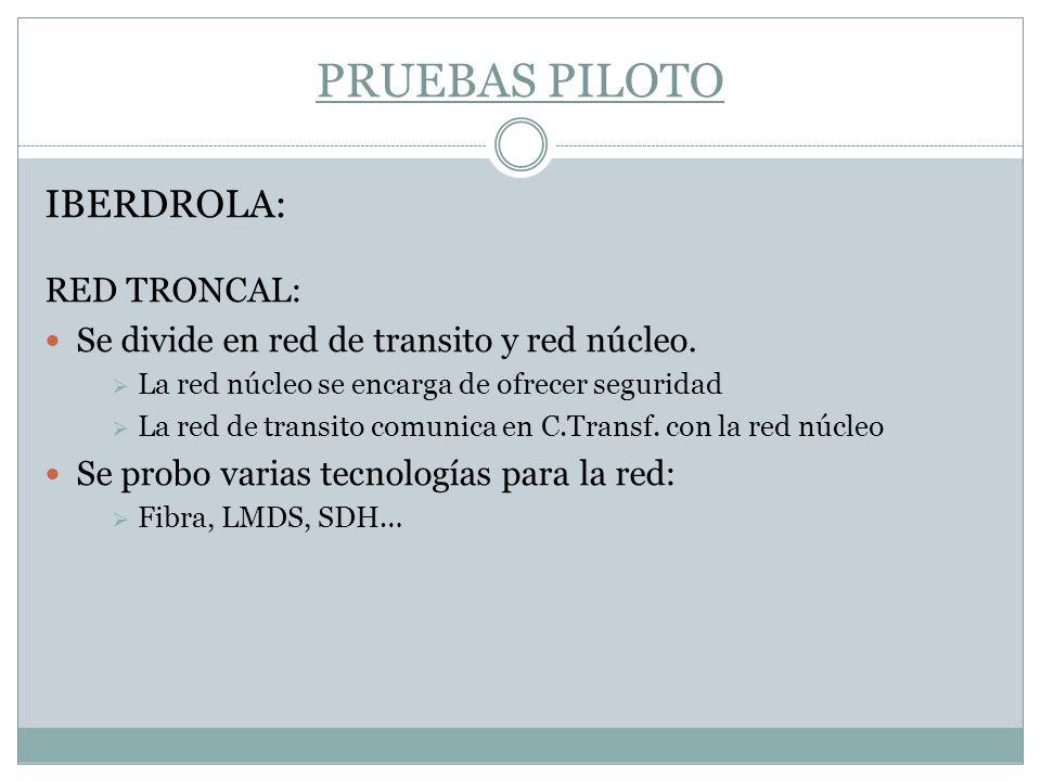 PRUEBAS PILOTO IBERDROLA: RED TRONCAL: