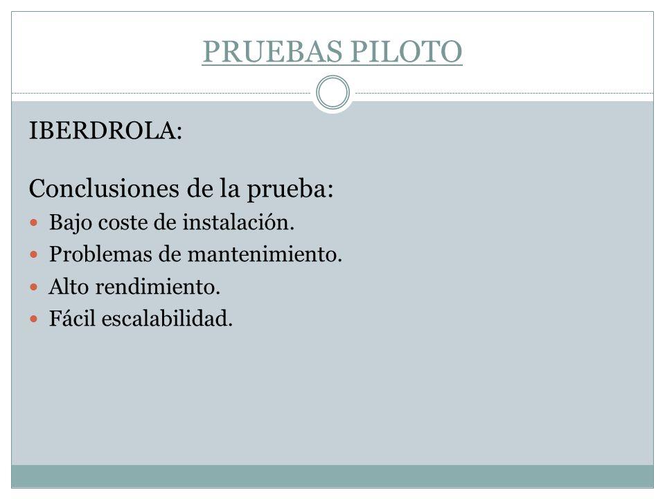 PRUEBAS PILOTO Conclusiones de la prueba: IBERDROLA: