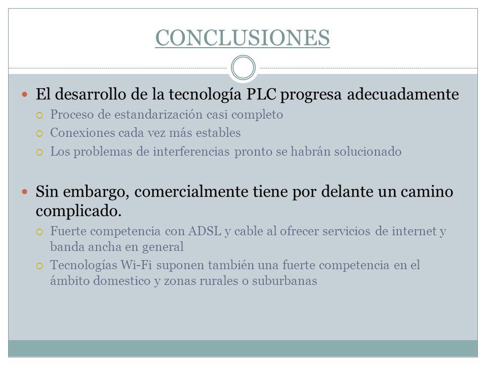 CONCLUSIONES El desarrollo de la tecnología PLC progresa adecuadamente
