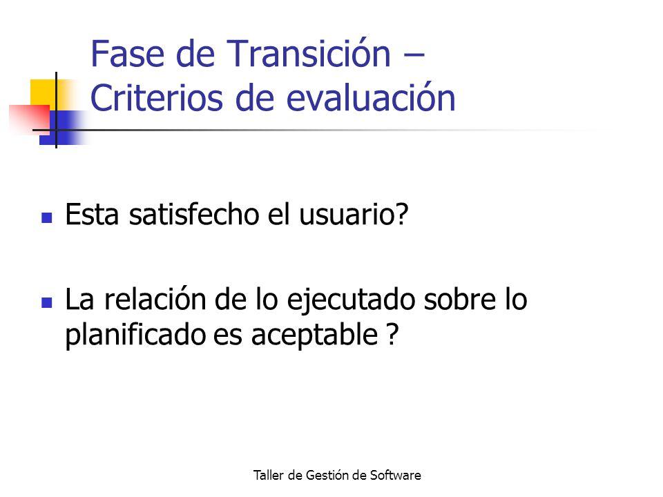 Fase de Transición – Criterios de evaluación