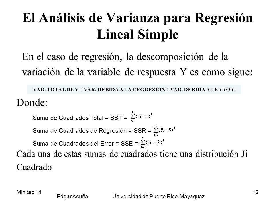 El Análisis de Varianza para Regresión Lineal Simple