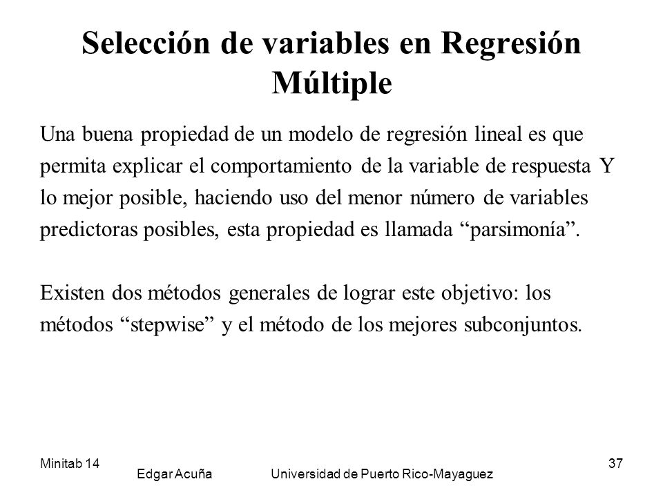 Selección de variables en Regresión Múltiple