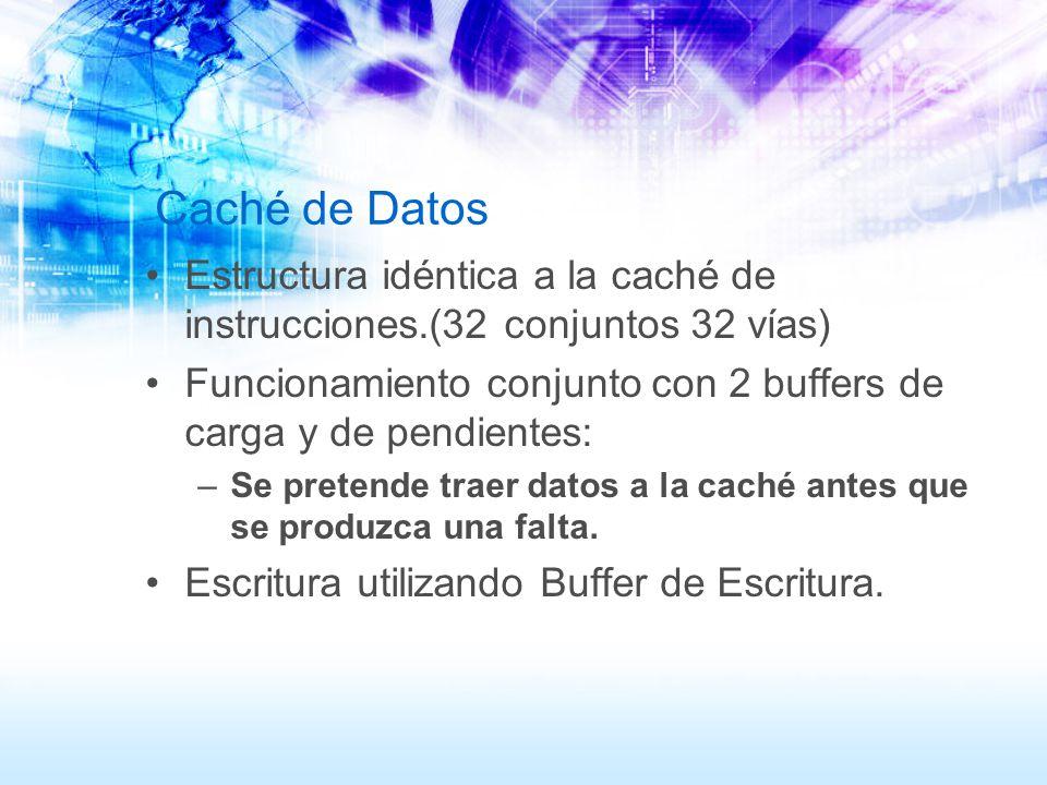 Caché de Datos Estructura idéntica a la caché de instrucciones.(32 conjuntos 32 vías)