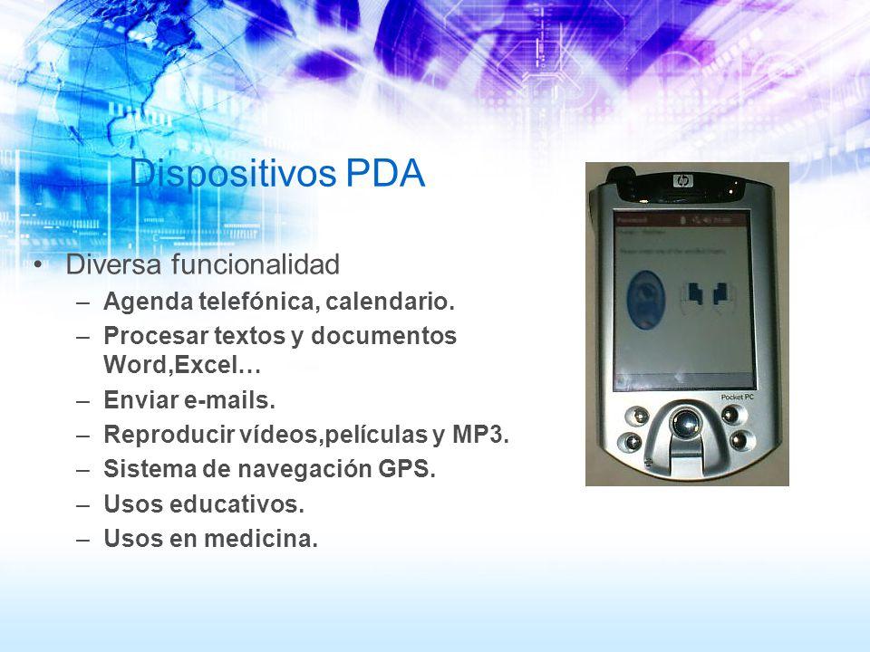 Dispositivos PDA Diversa funcionalidad Agenda telefónica, calendario.