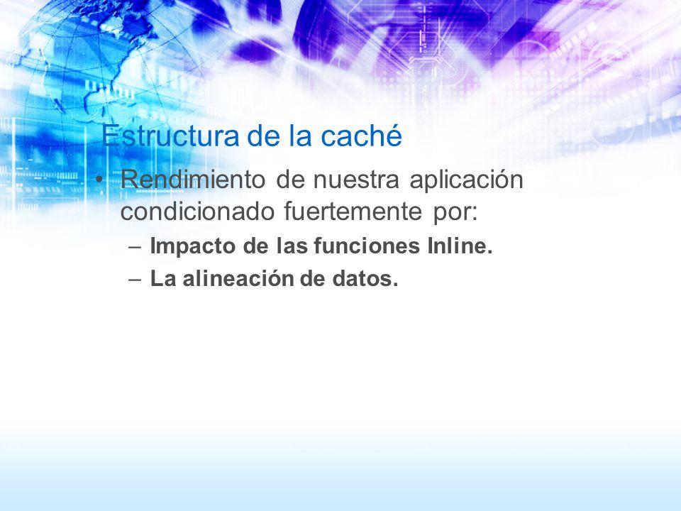 Estructura de la caché Rendimiento de nuestra aplicación condicionado fuertemente por: Impacto de las funciones Inline.