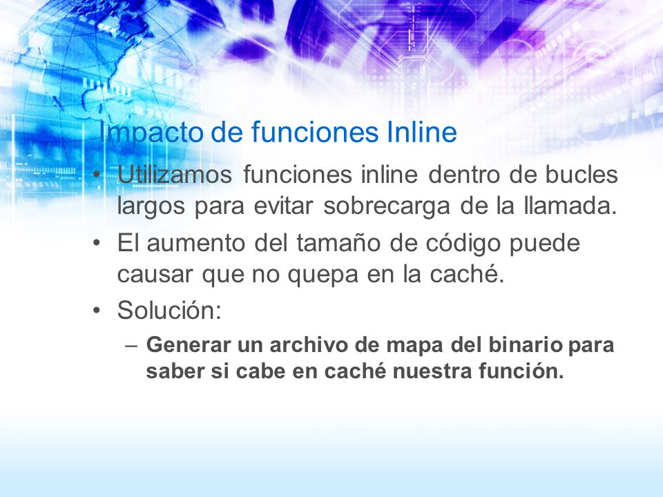 Impacto de funciones Inline