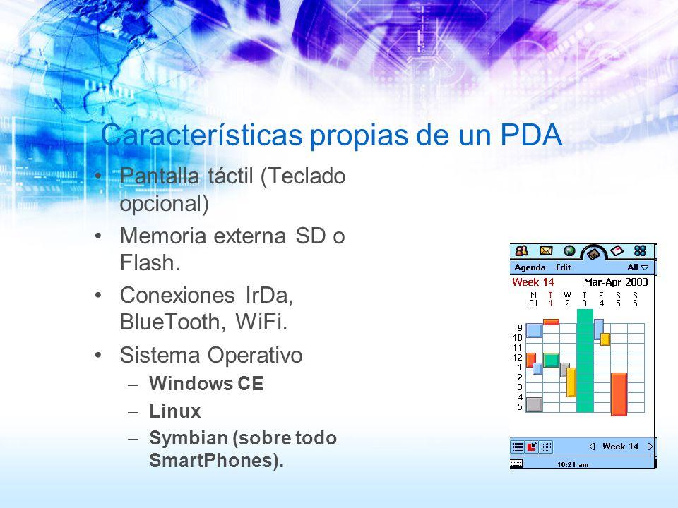 Características propias de un PDA