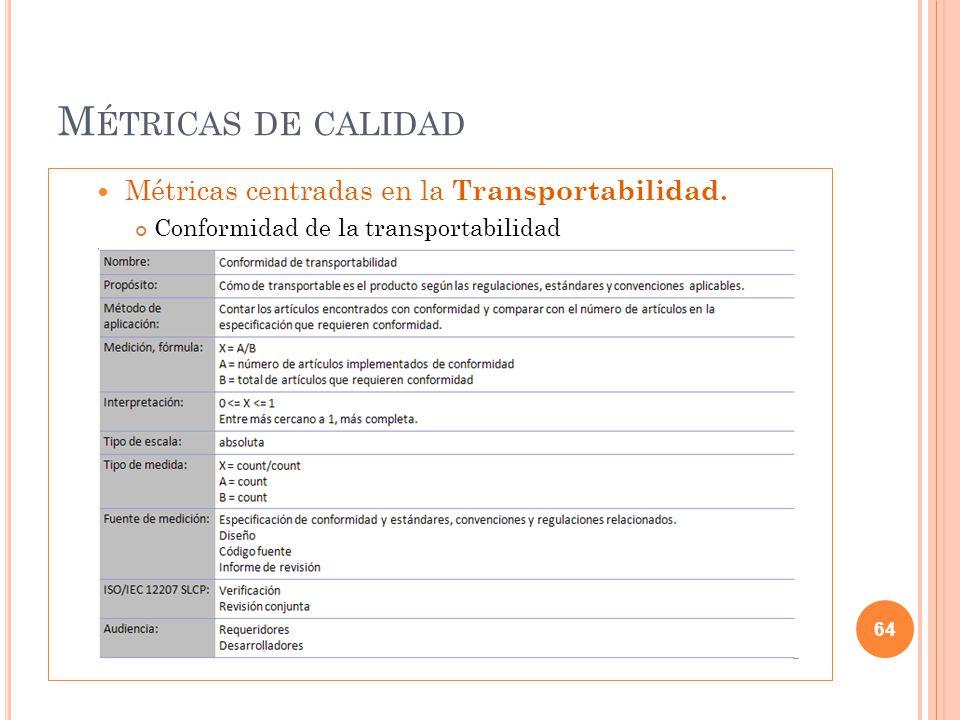 Métricas de calidad Métricas centradas en la Transportabilidad.