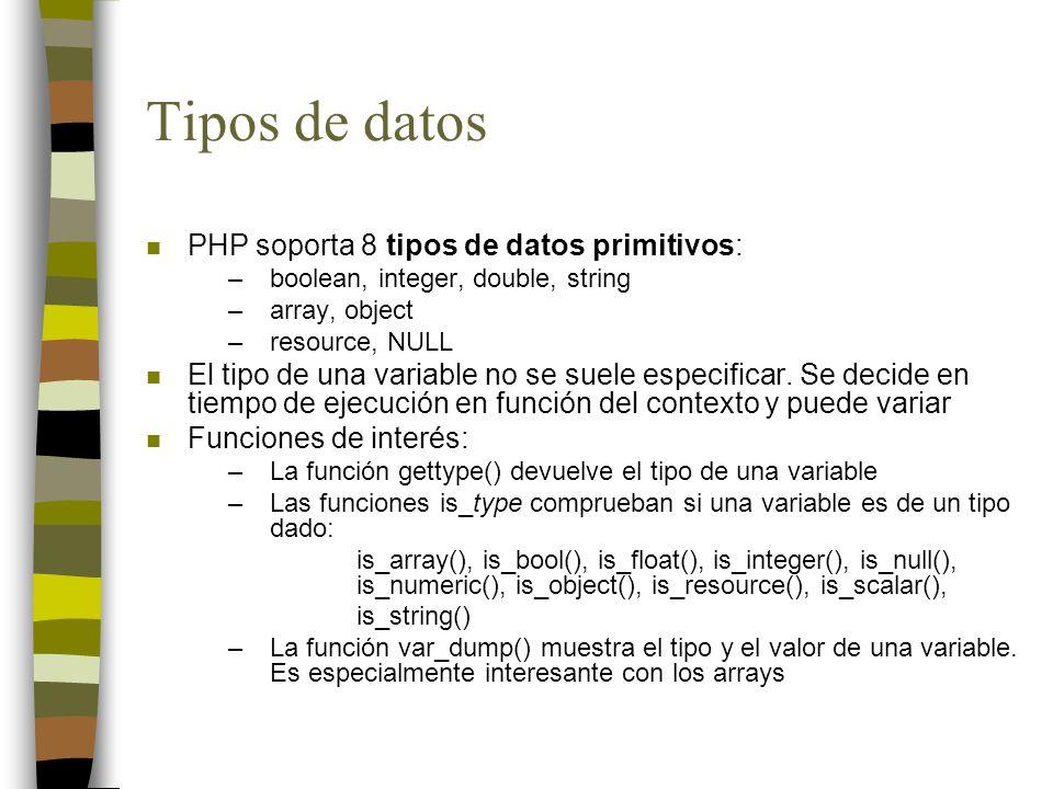 Tipos de datos PHP soporta 8 tipos de datos primitivos: