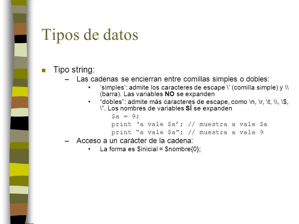 Tipos de datos Tipo string: