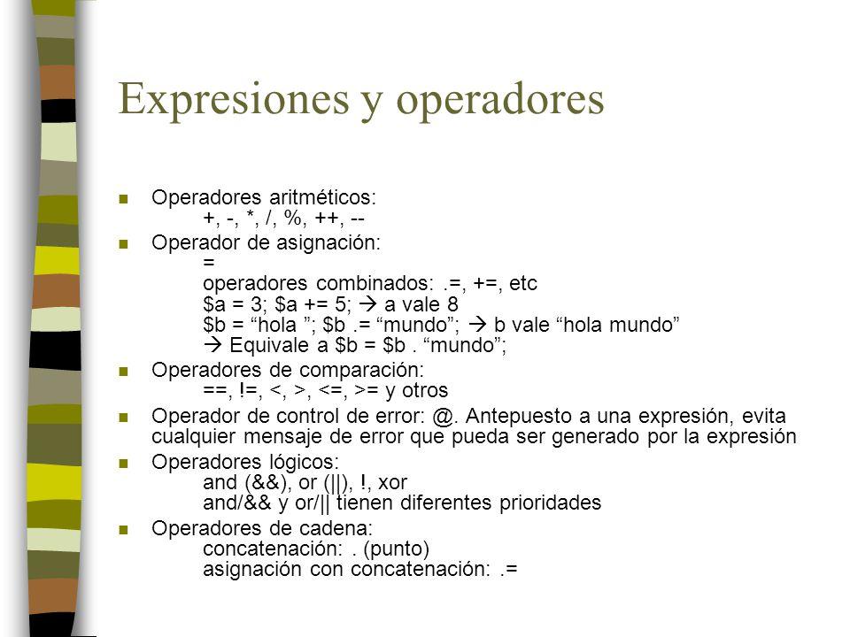 Expresiones y operadores