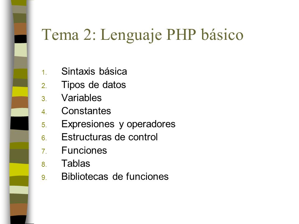 Tema 2: Lenguaje PHP básico