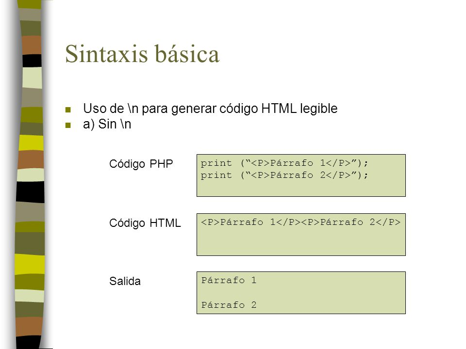 Sintaxis básica Uso de \n para generar código HTML legible a) Sin \n