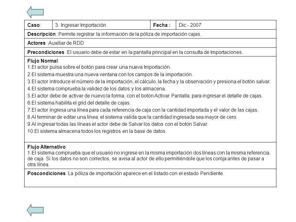 Caso: 3. Ingresar Importación. Fecha : Dic - 2007. Descripción :Permite registrar la información de la póliza de importación cajas.