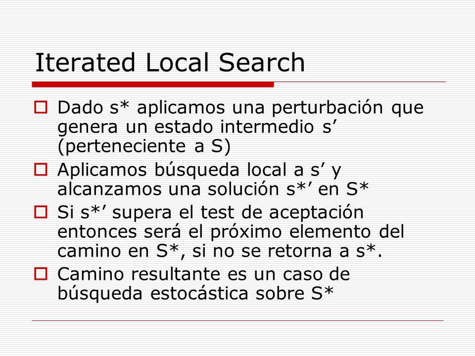 Iterated Local Search Dado s* aplicamos una perturbación que genera un estado intermedio s' (perteneciente a S)