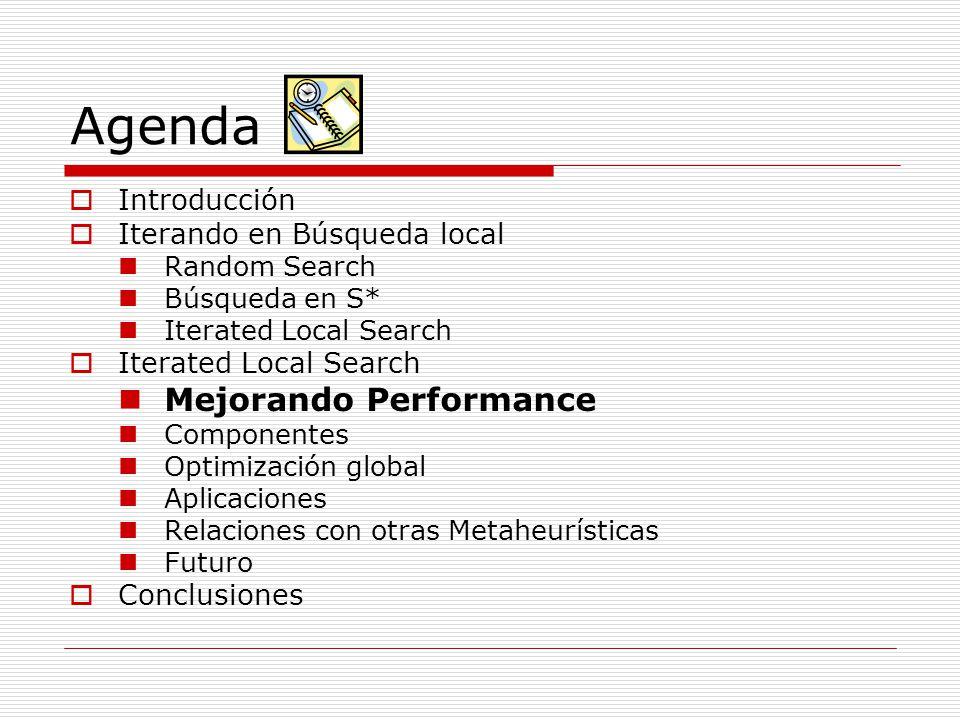 Agenda Mejorando Performance Introducción Iterando en Búsqueda local