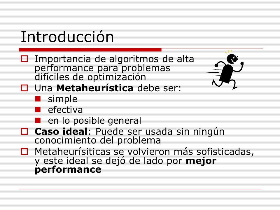 Introducción Importancia de algoritmos de alta performance para problemas difíciles de optimización.