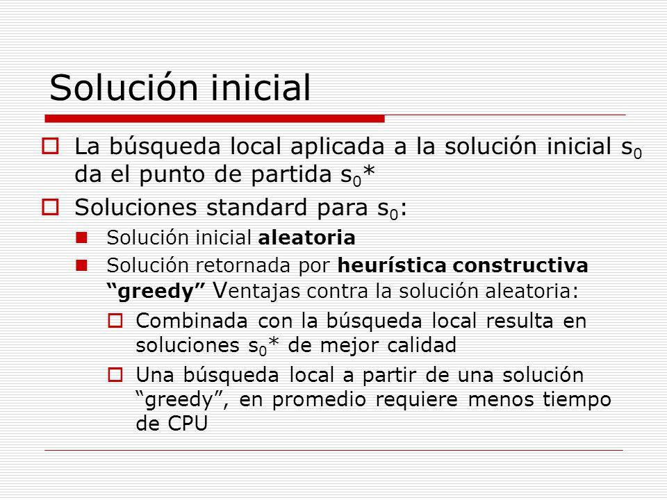 Solución inicial La búsqueda local aplicada a la solución inicial s0 da el punto de partida s0* Soluciones standard para s0: