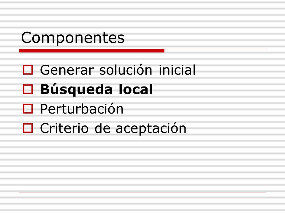 Componentes Generar solución inicial Búsqueda local Perturbación