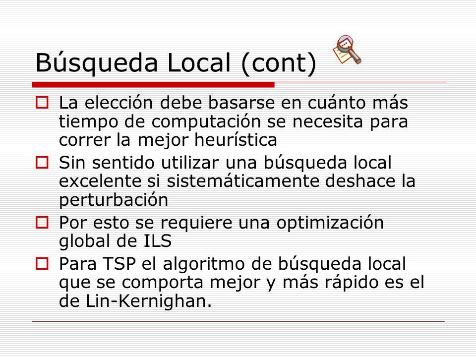Búsqueda Local (cont) La elección debe basarse en cuánto más tiempo de computación se necesita para correr la mejor heurística.