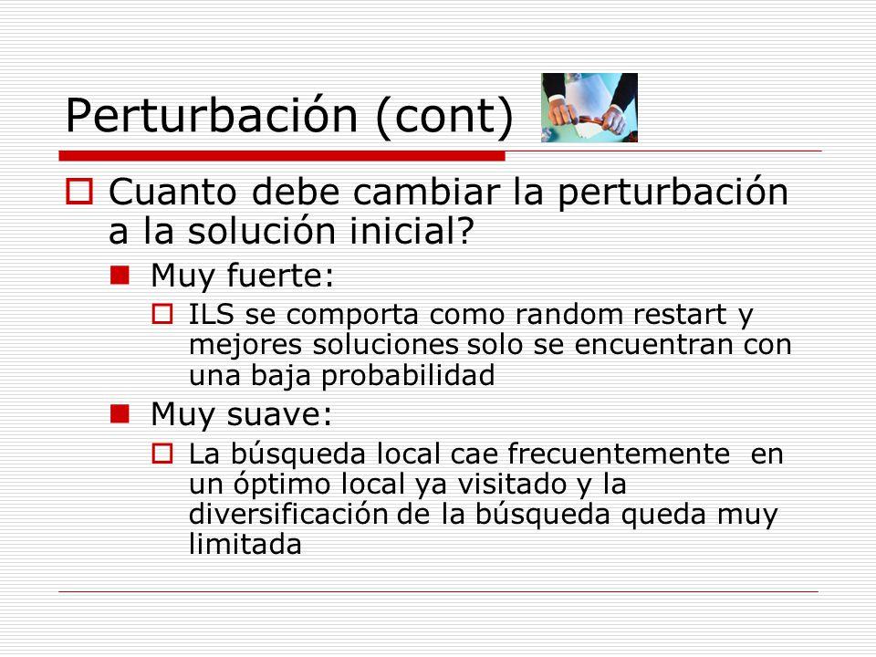 Perturbación (cont) Cuanto debe cambiar la perturbación a la solución inicial Muy fuerte: