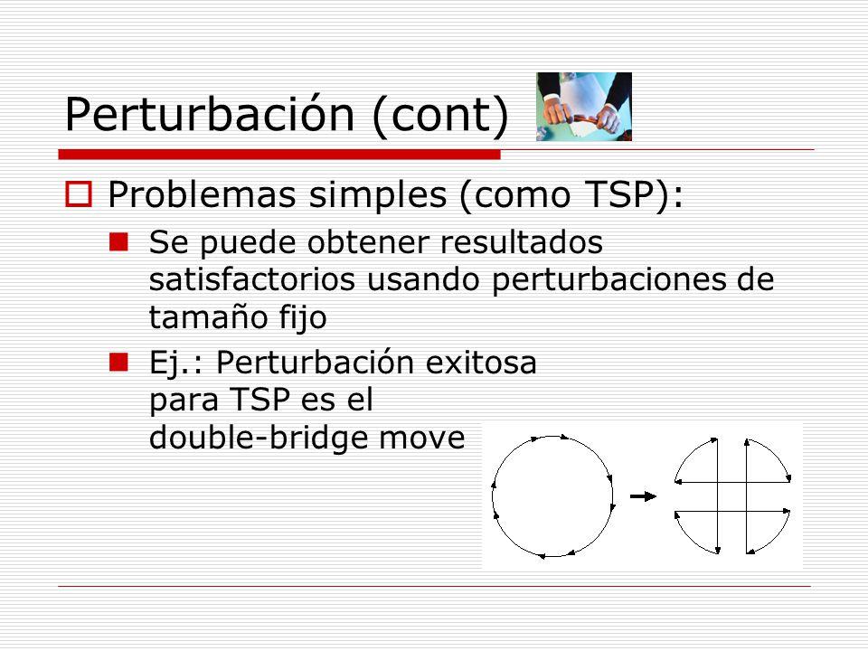 Perturbación (cont) Problemas simples (como TSP):