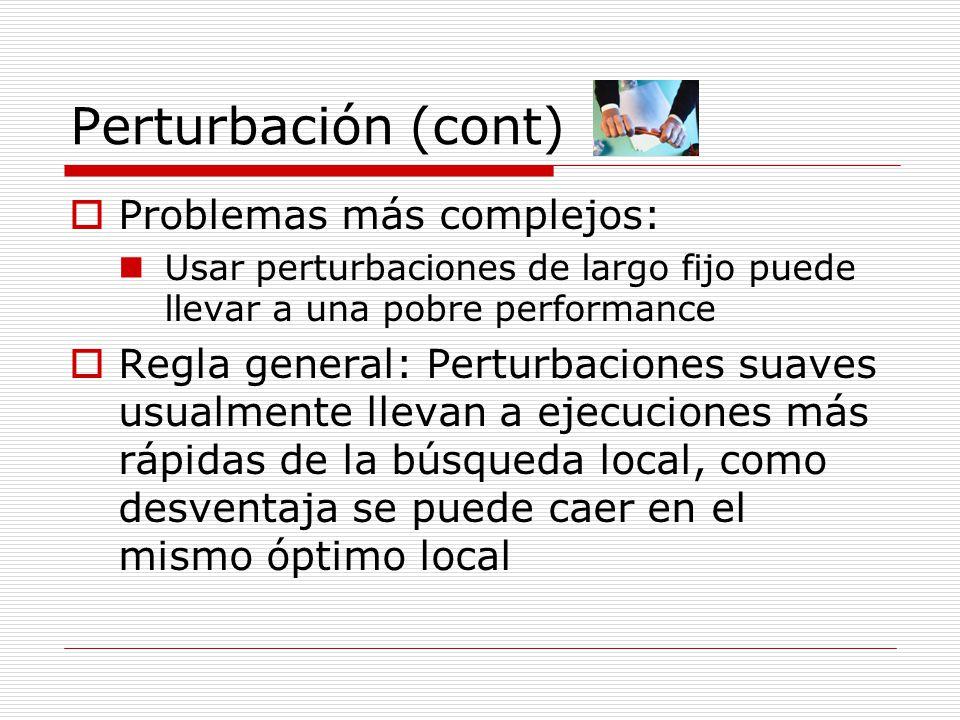 Perturbación (cont) Problemas más complejos: