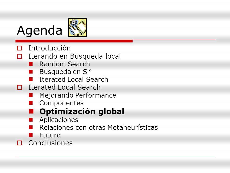 Agenda Optimización global Introducción Iterando en Búsqueda local