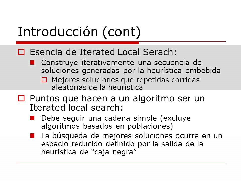 Introducción (cont) Esencia de Iterated Local Serach: